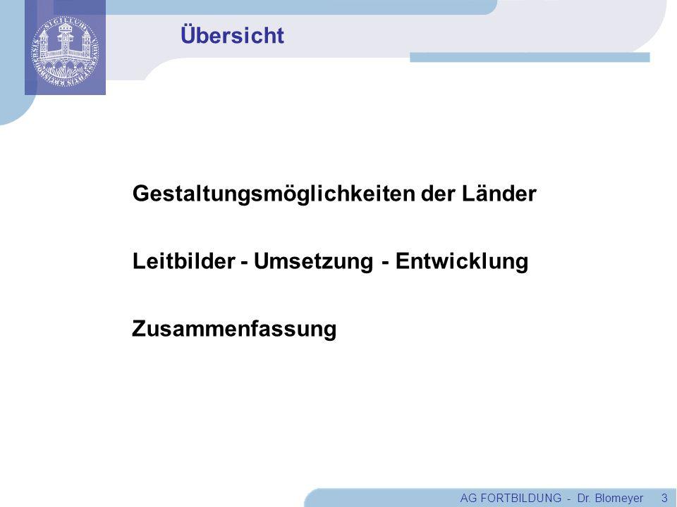 AG FORTBILDUNG - Dr. Blomeyer 3 Übersicht Gestaltungsmöglichkeiten der Länder Leitbilder - Umsetzung - Entwicklung Zusammenfassung