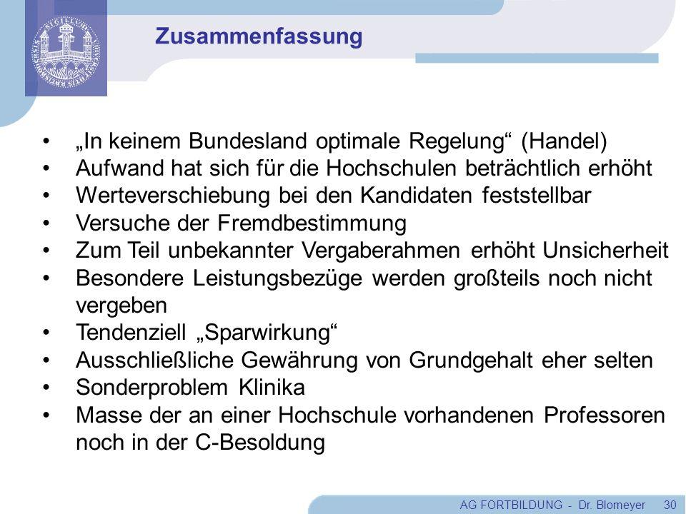 AG FORTBILDUNG - Dr. Blomeyer 30 In keinem Bundesland optimale Regelung (Handel) Aufwand hat sich für die Hochschulen beträchtlich erhöht Werteverschi