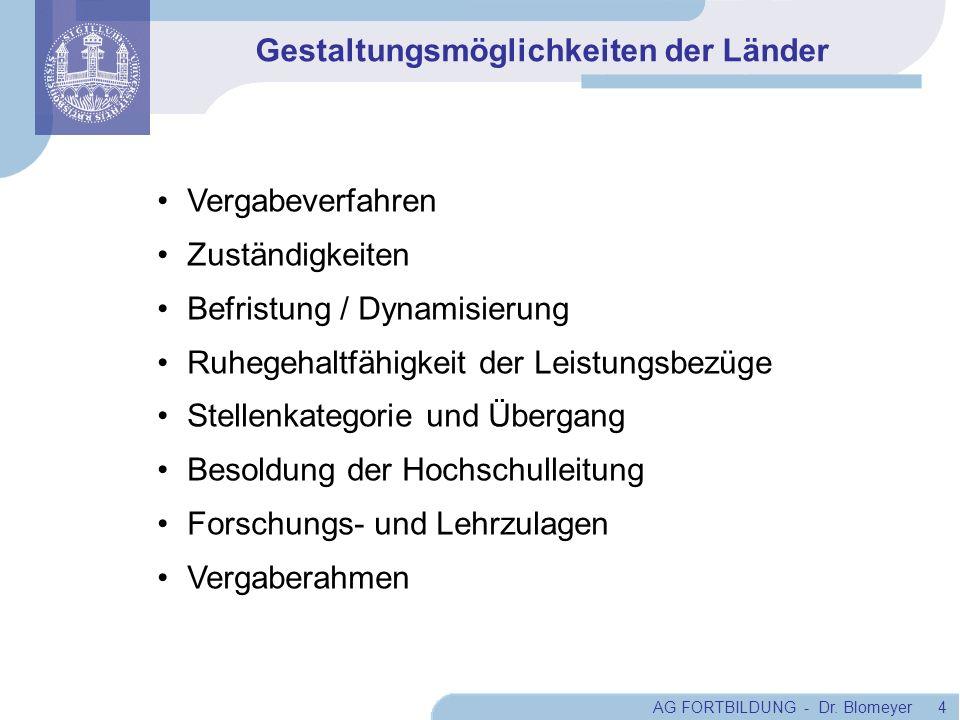 AG FORTBILDUNG - Dr. Blomeyer 4 Gestaltungsmöglichkeiten der Länder Vergabeverfahren Zuständigkeiten Befristung / Dynamisierung Ruhegehaltfähigkeit de