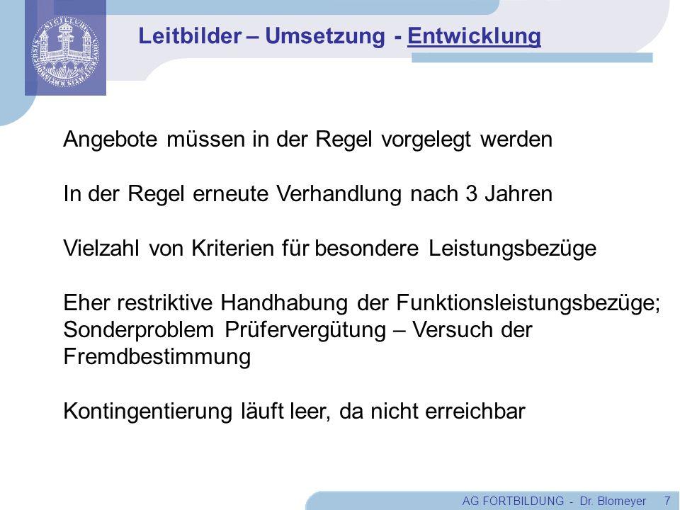 AG FORTBILDUNG - Dr. Blomeyer 7 Angebote müssen in der Regel vorgelegt werden In der Regel erneute Verhandlung nach 3 Jahren Vielzahl von Kriterien fü