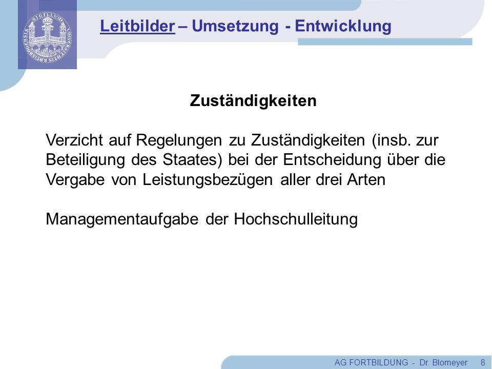 AG FORTBILDUNG - Dr. Blomeyer 8 Zuständigkeiten Verzicht auf Regelungen zu Zuständigkeiten (insb. zur Beteiligung des Staates) bei der Entscheidung üb
