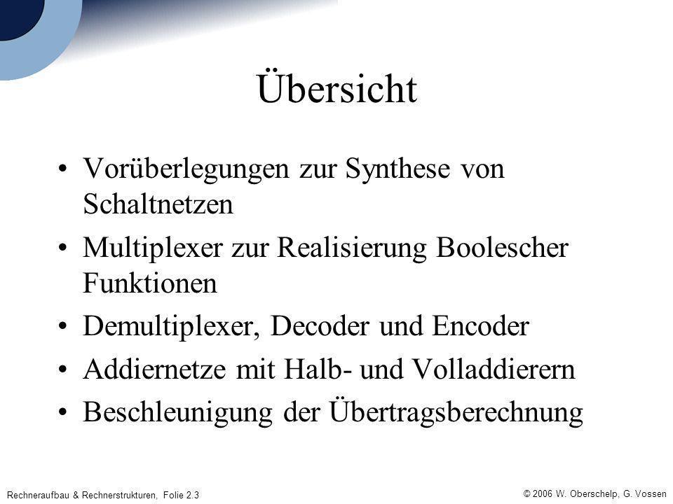 © 2006 W. Oberschelp, G. Vossen Rechneraufbau & Rechnerstrukturen, Folie 2.3 Übersicht Vorüberlegungen zur Synthese von Schaltnetzen Multiplexer zur R