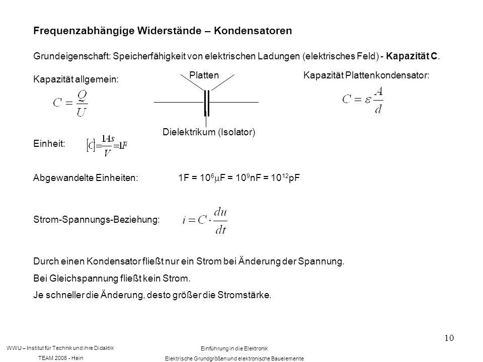 WWU – Institut für Technik und ihre Didaktik TEAM 2006 - Hein Einführung in die Elektronik Elektrische Grundgrößen und elektronische Bauelemente 10 Frequenzabhängige Widerstände – Kondensatoren Grundeigenschaft: Speicherfähigkeit von elektrischen Ladungen (elektrisches Feld) - Kapazität C.