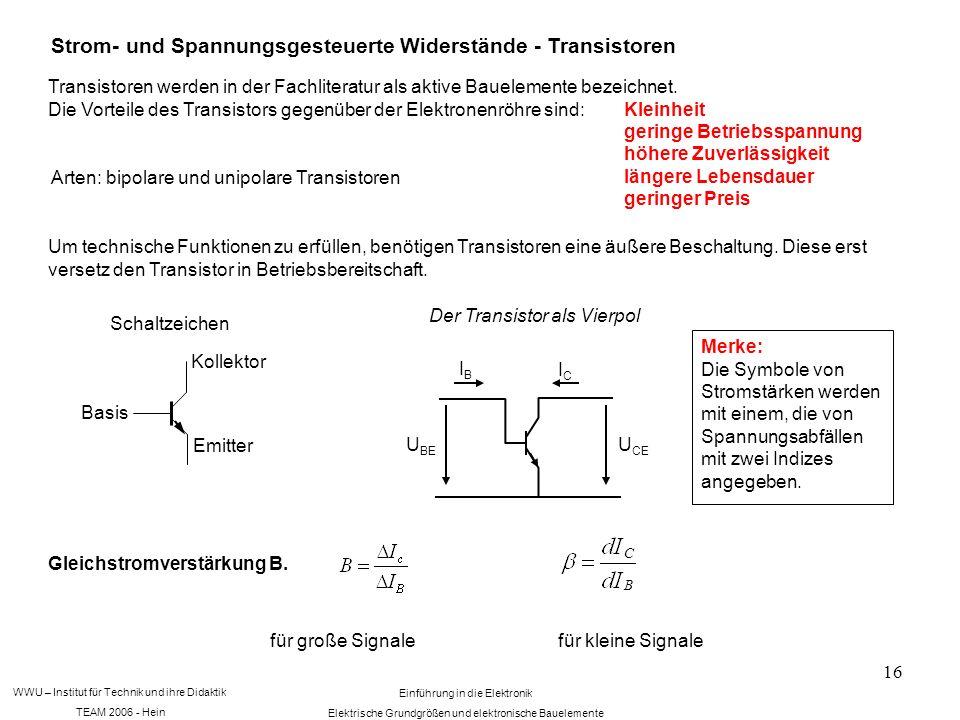 WWU – Institut für Technik und ihre Didaktik TEAM 2006 - Hein Einführung in die Elektronik Elektrische Grundgrößen und elektronische Bauelemente 16 Strom- und Spannungsgesteuerte Widerstände - Transistoren Transistoren werden in der Fachliteratur als aktive Bauelemente bezeichnet.