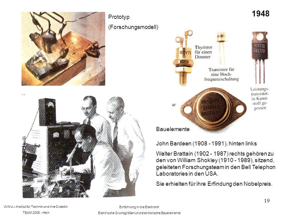 WWU – Institut für Technik und ihre Didaktik TEAM 2006 - Hein Einführung in die Elektronik Elektrische Grundgrößen und elektronische Bauelemente 19 Prototyp (Forschungsmodell) Bauelemente 1948 John Bardeen (1908 - 1991), hinten links Walter Brattain (1902 - 1987) rechts gehören zu den von William Shokley (1910 - 1989), sitzend, geleiteten Forschungsteam in den Bell Telephon Laboratories in den USA.