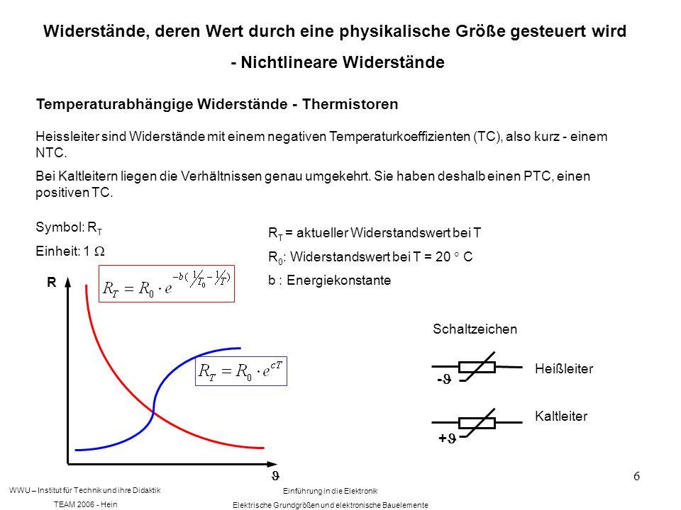 WWU – Institut für Technik und ihre Didaktik TEAM 2006 - Hein Einführung in die Elektronik Elektrische Grundgrößen und elektronische Bauelemente 6 Widerstände, deren Wert durch eine physikalische Größe gesteuert wird - Nichtlineare Widerstände Temperaturabhängige Widerstände - Thermistoren Heissleiter sind Widerstände mit einem negativen Temperaturkoeffizienten (TC), also kurz - einem NTC.