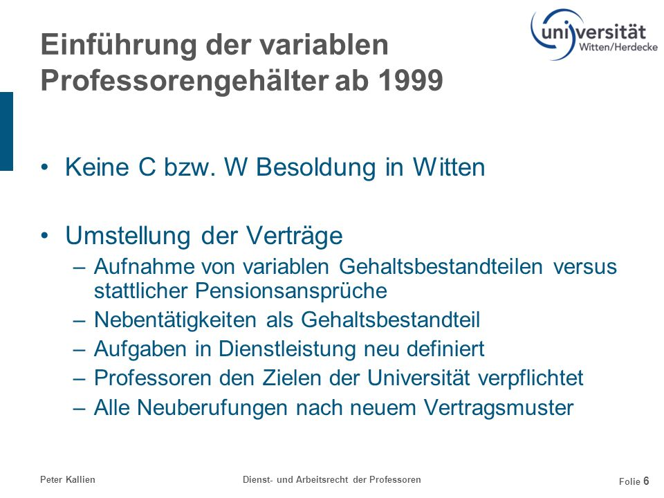 Peter KallienDienst- und Arbeitsrecht der Professoren Folie 6 Einführung der variablen Professorengehälter ab 1999 Keine C bzw. W Besoldung in Witten