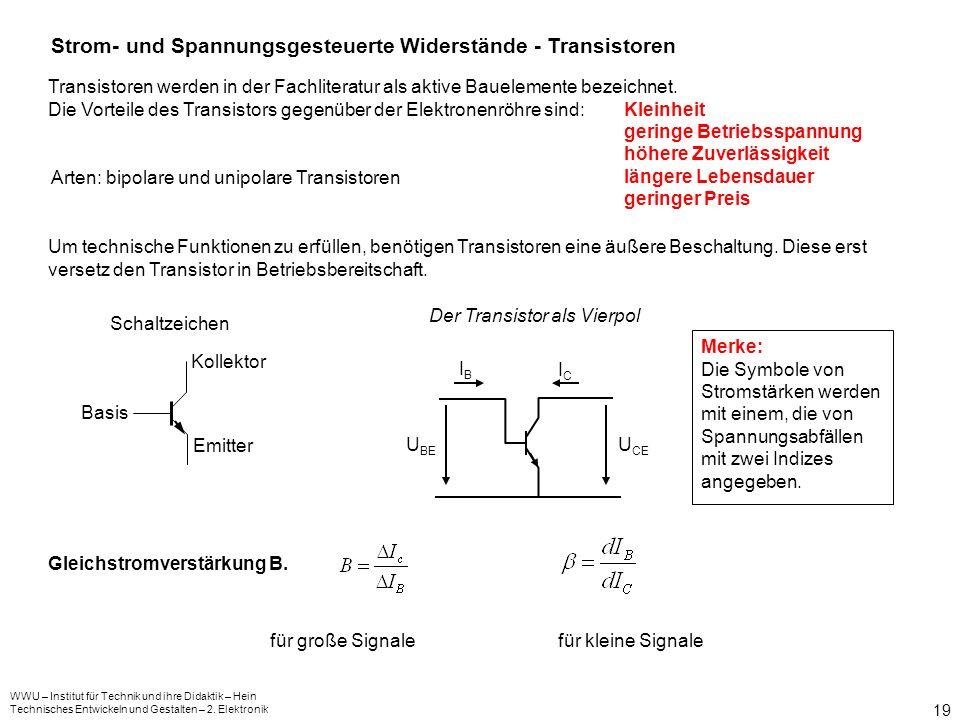 WWU – Institut für Technik und ihre Didaktik – Hein Technisches Entwickeln und Gestalten – 2. Elektronik 18 Betriebsarten: 1. Durchlassrichtung: UB IF
