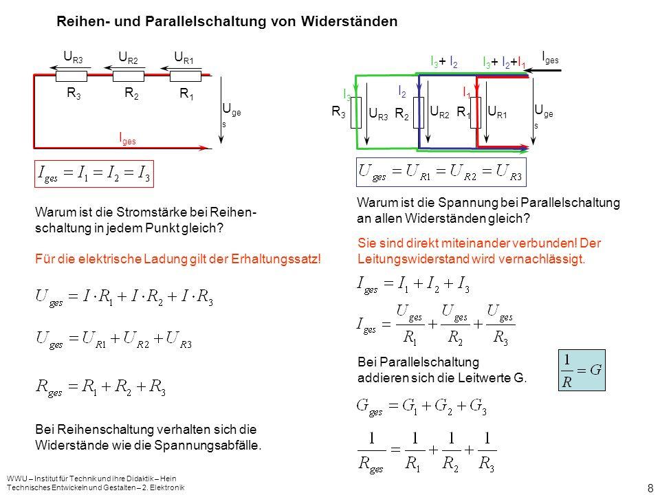 WWU – Institut für Technik und ihre Didaktik – Hein Technisches Entwickeln und Gestalten – 2. Elektronik 7 Messung der Spannung und des Spannungsabfal