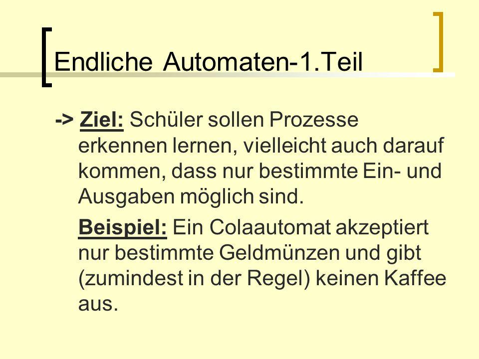 Endliche Automaten-1.Teil -> Ziel: Schüler sollen Prozesse erkennen lernen, vielleicht auch darauf kommen, dass nur bestimmte Ein- und Ausgaben möglic