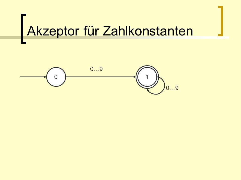 Akzeptor für Zahlkonstanten 01 0…9