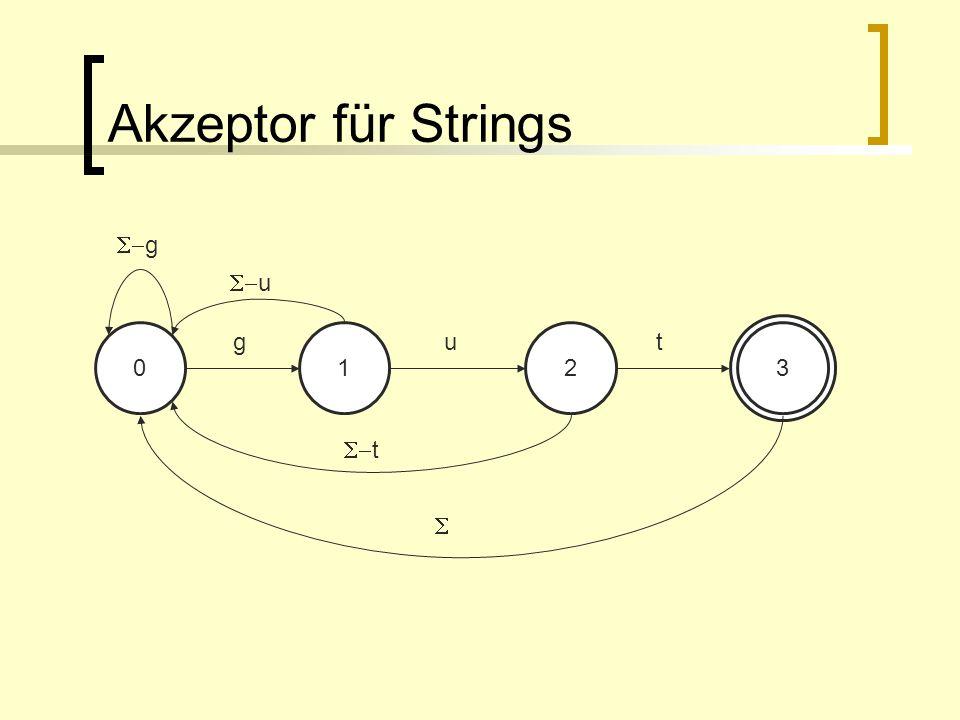 Akzeptor für Strings 0123 gut g u t