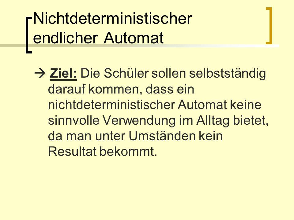 Nichtdeterministischer endlicher Automat Ziel: Die Schüler sollen selbstständig darauf kommen, dass ein nichtdeterministischer Automat keine sinnvolle