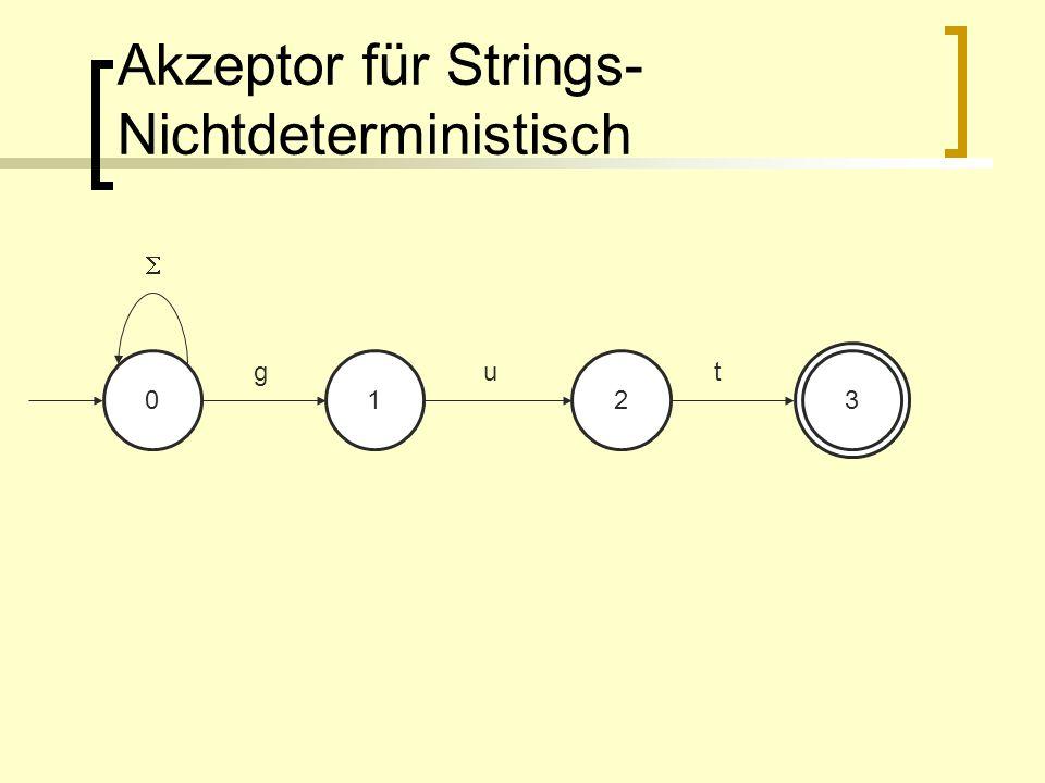 Akzeptor für Strings- Nichtdeterministisch 0123 gut