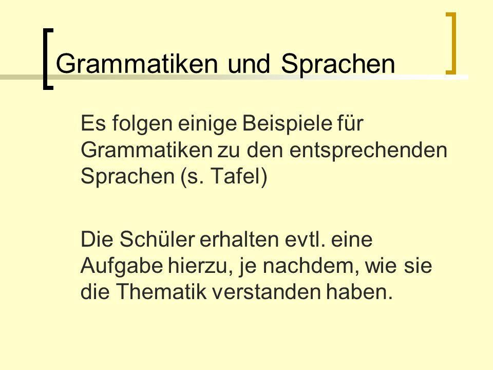 Grammatiken und Sprachen Es folgen einige Beispiele für Grammatiken zu den entsprechenden Sprachen (s. Tafel) Die Schüler erhalten evtl. eine Aufgabe