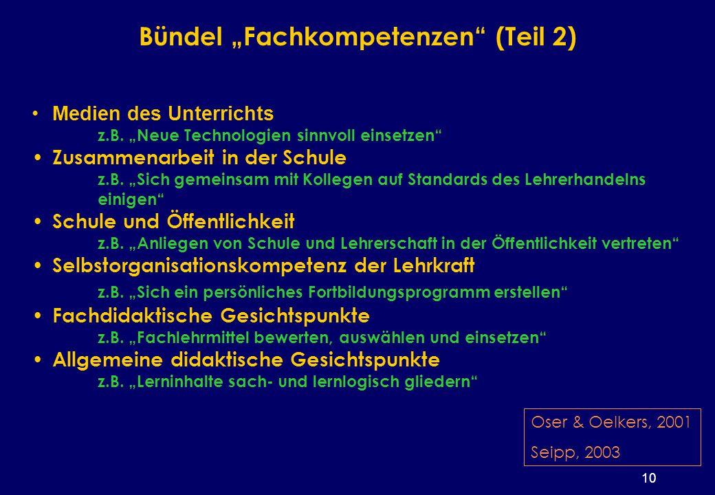 10 Bündel Fachkompetenzen (Teil 2) Medien des Unterrichts z.B.