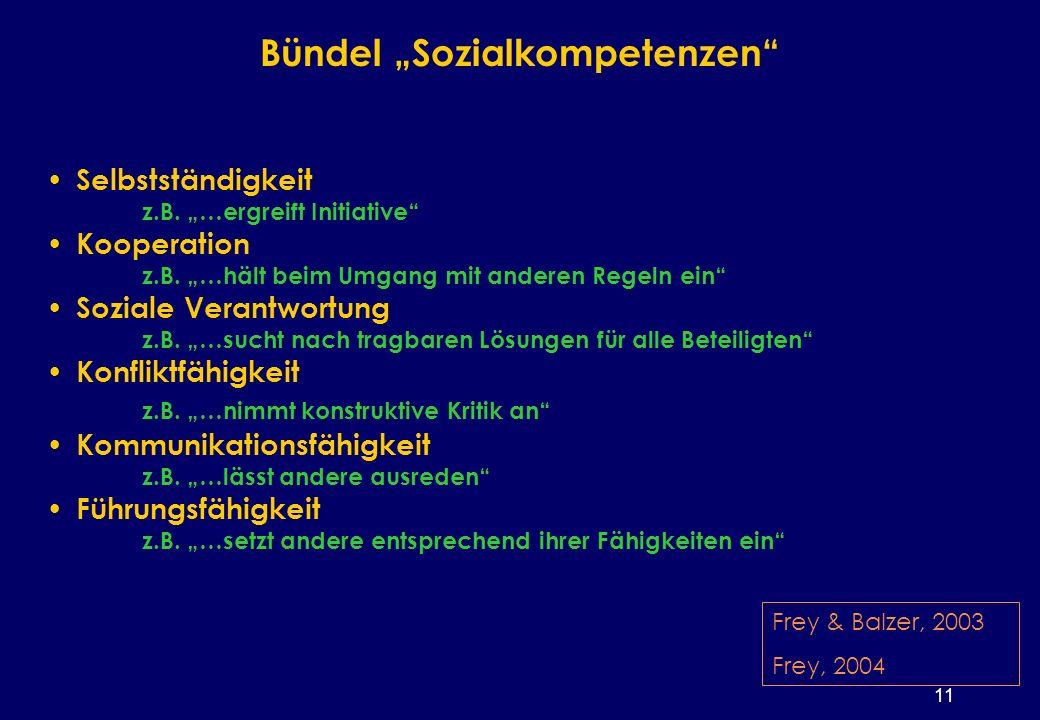11 Bündel Sozialkompetenzen Selbstständigkeit z.B.
