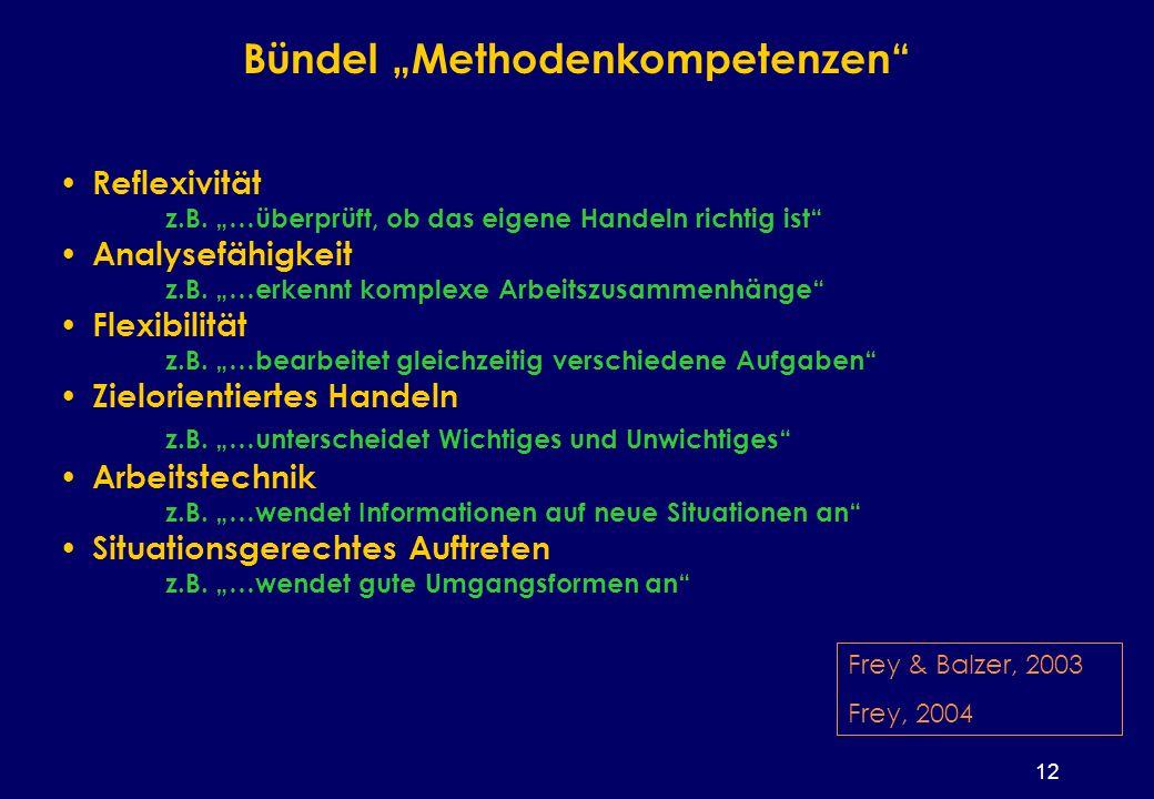 12 Bündel Methodenkompetenzen Reflexivität z.B.