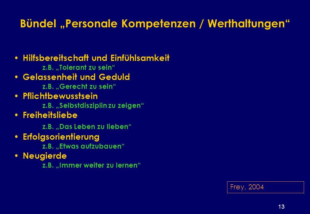 13 Bündel Personale Kompetenzen / Werthaltungen Hilfsbereitschaft und Einfühlsamkeit z.B.