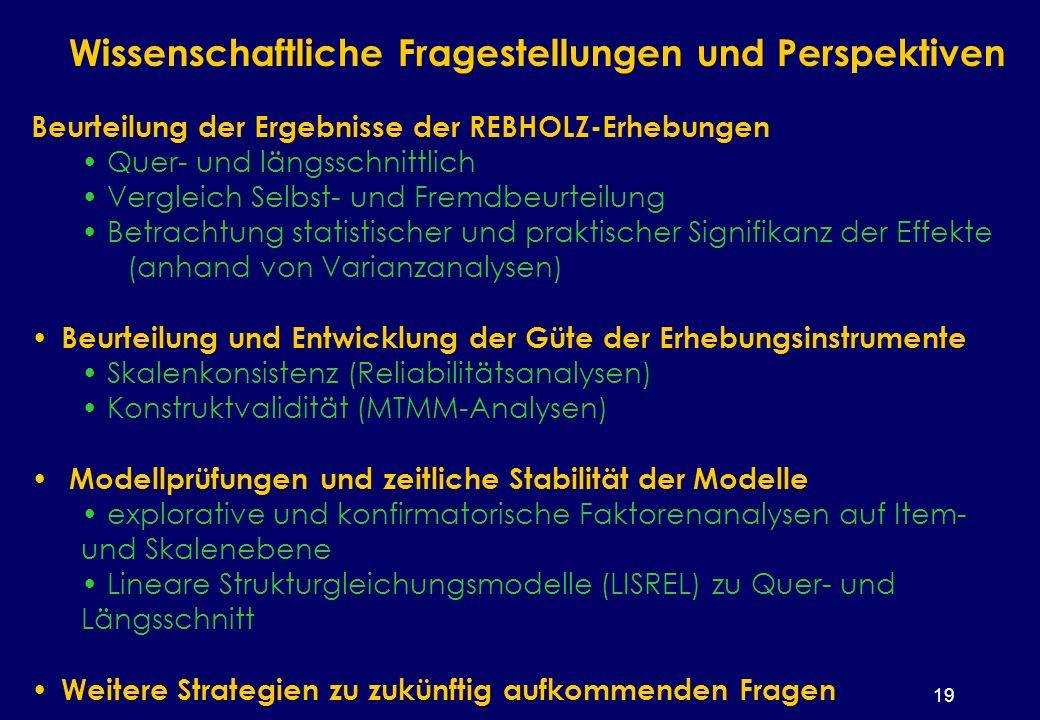 19 Wissenschaftliche Fragestellungen und Perspektiven Beurteilung der Ergebnisse der REBHOLZ-Erhebungen Quer- und längsschnittlich Vergleich Selbst- und Fremdbeurteilung Betrachtung statistischer und praktischer Signifikanz der Effekte (anhand von Varianzanalysen) Beurteilung und Entwicklung der Güte der Erhebungsinstrumente Skalenkonsistenz (Reliabilitätsanalysen) Konstruktvalidität (MTMM-Analysen) Modellprüfungen und zeitliche Stabilität der Modelle explorative und konfirmatorische Faktorenanalysen auf Item- und Skalenebene Lineare Strukturgleichungsmodelle (LISREL) zu Quer- und Längsschnitt Weitere Strategien zu zukünftig aufkommenden Fragen