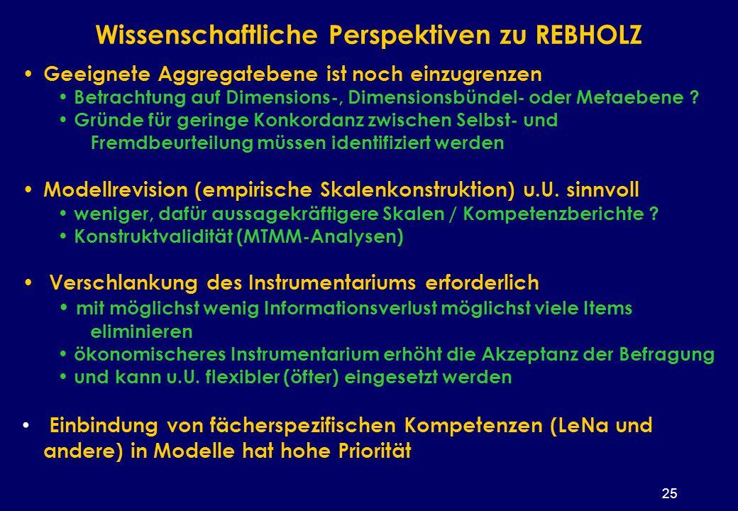 25 Wissenschaftliche Perspektiven zu REBHOLZ Geeignete Aggregatebene ist noch einzugrenzen Betrachtung auf Dimensions-, Dimensionsbündel- oder Metaebene .