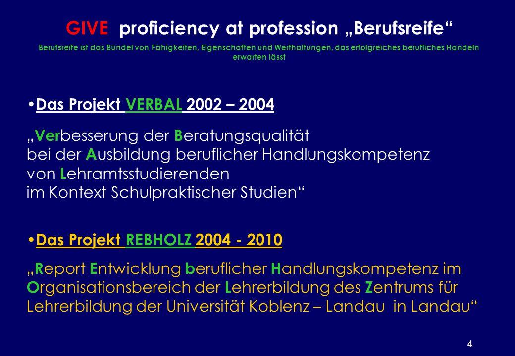 4 Das Projekt VERBAL 2002 – 2004 Ver besserung der B eratungsqualität bei der A usbildung beruflicher Handlungskompetenz von L ehramtsstudierenden im Kontext Schulpraktischer Studien Das Projekt REBHOLZ 2004 - 2010 R eport E ntwicklung b eruflicher H andlungskompetenz im O rganisationsbereich der L ehrerbildung des Z entrums für Lehrerbildung der Universität Koblenz – Landau in Landau GIVE proficiency at profession Berufsreife Berufsreife ist das Bündel von Fähigkeiten, Eigenschaften und Werthaltungen, das erfolgreiches berufliches Handeln erwarten lässt
