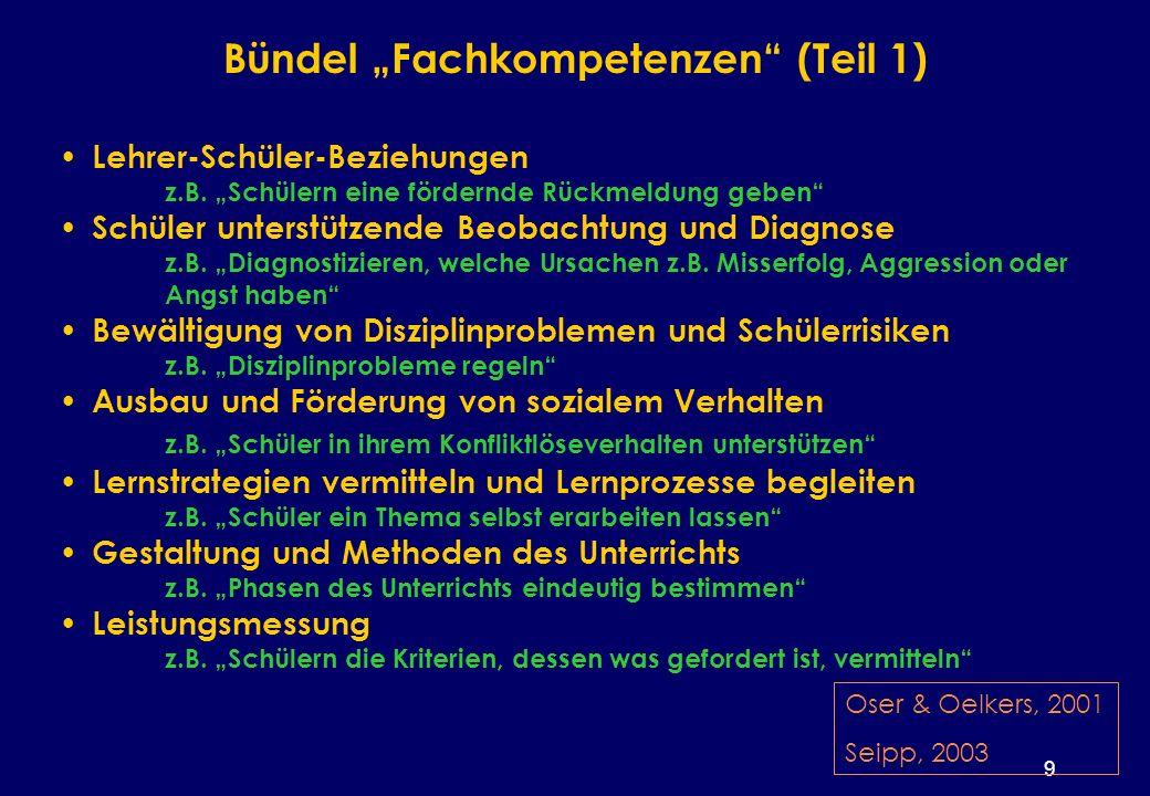 9 Bündel Fachkompetenzen (Teil 1) Lehrer-Schüler-Beziehungen z.B.