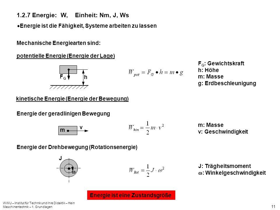 WWU – Institut für Technik und ihre Didaktik – Hein Maschinentechnik – 1. Grundlagen 11 1.2.7 Energie: W, Einheit: Nm, J, Ws Energie ist die Fähigkeit