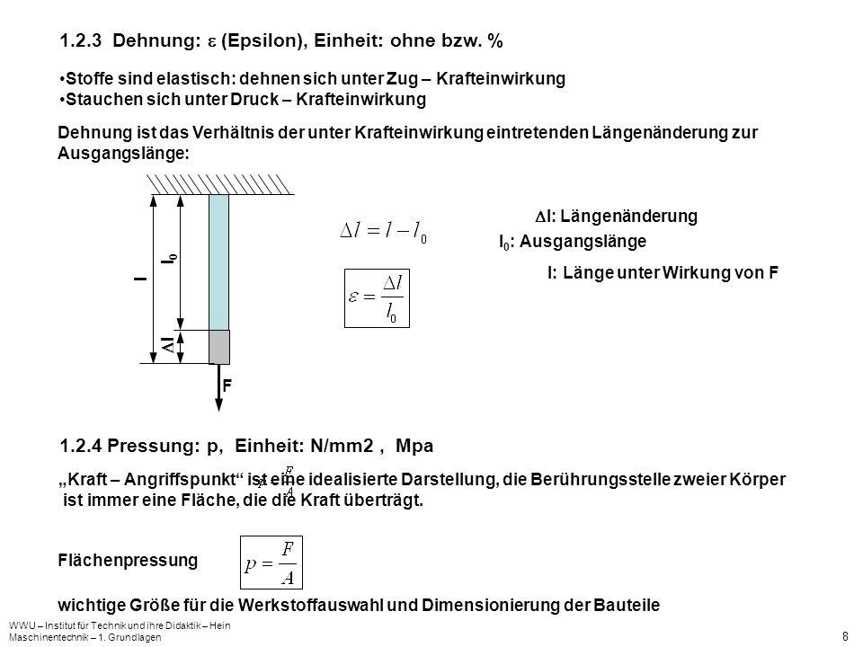 WWU – Institut für Technik und ihre Didaktik – Hein Maschinentechnik – 1. Grundlagen 8 1.2.3 Dehnung: (Epsilon), Einheit: ohne bzw. % Stoffe sind elas