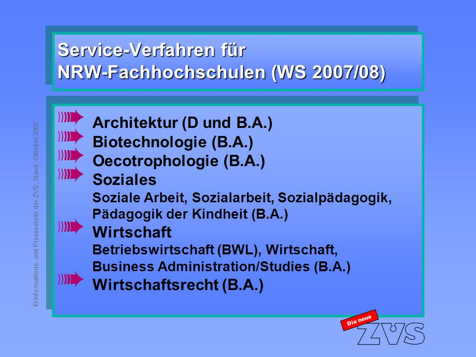 © Informations- und Pressestelle der ZVS, Stand: Oktober 2007 Service-Verfahren für NRW-Fachhochschulen (WS 2007/08) à Architektur (D und B.A.) à Biotechnologie (B.A.) à Oecotrophologie (B.A.) à Soziales Soziale Arbeit, Sozialarbeit, Sozialpädagogik, Pädagogik der Kindheit (B.A.) à Wirtschaft Betriebswirtschaft (BWL), Wirtschaft, Business Administration/Studies (B.A.) à Wirtschaftsrecht (B.A.) à Architektur (D und B.A.) à Biotechnologie (B.A.) à Oecotrophologie (B.A.) à Soziales Soziale Arbeit, Sozialarbeit, Sozialpädagogik, Pädagogik der Kindheit (B.A.) à Wirtschaft Betriebswirtschaft (BWL), Wirtschaft, Business Administration/Studies (B.A.) à Wirtschaftsrecht (B.A.) Die neue