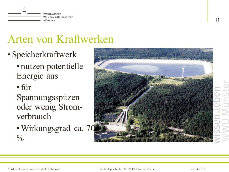 Marlies Keizers und Benedikt HeitmannTechnikgeschichte SS 2010 Johannes Evers25.04.2010 Arten von Kraftwerken Speicherkraftwerk nutzen potentielle Ene