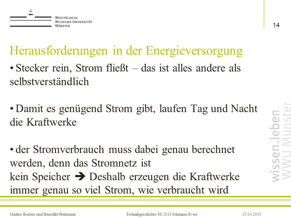 Marlies Keizers und Benedikt HeitmannTechnikgeschichte SS 2010 Johannes Evers25.04.2010 Herausforderungen in der Energieversorgung Stecker rein, Strom