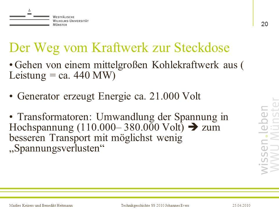 Marlies Keizers und Benedikt HeitmannTechnikgeschichte SS 2010 Johannes Evers25.04.2010 Der Weg vom Kraftwerk zur Steckdose Gehen von einem mittelgroß