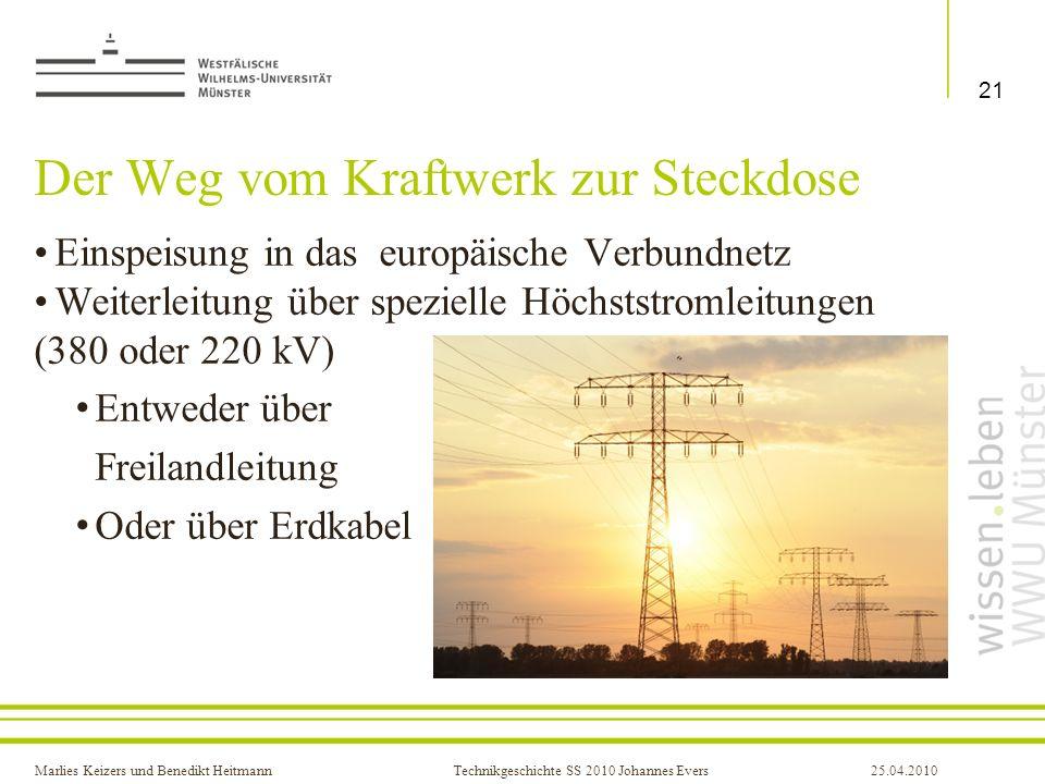 Marlies Keizers und Benedikt HeitmannTechnikgeschichte SS 2010 Johannes Evers25.04.2010 Der Weg vom Kraftwerk zur Steckdose Einspeisung in das europäi