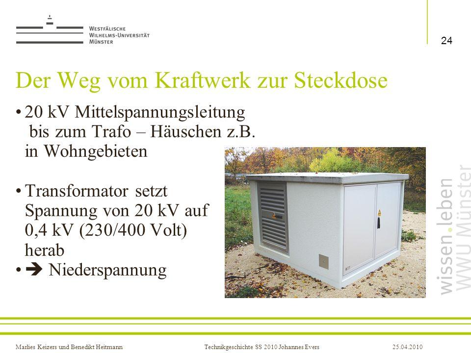 Marlies Keizers und Benedikt HeitmannTechnikgeschichte SS 2010 Johannes Evers25.04.2010 Der Weg vom Kraftwerk zur Steckdose 20 kV Mittelspannungsleitu