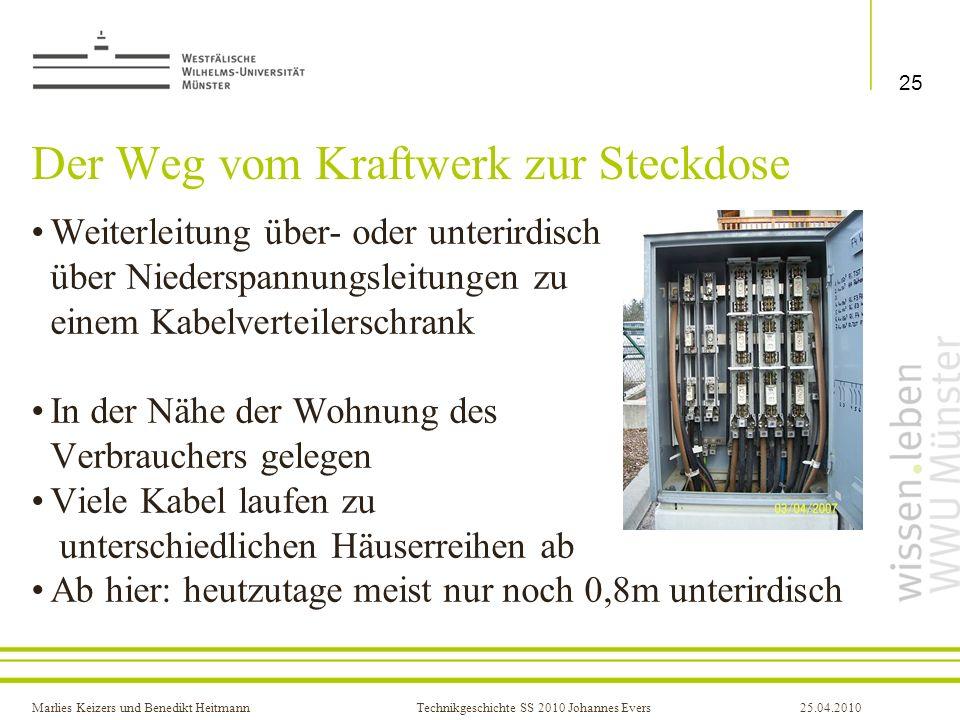 Marlies Keizers und Benedikt HeitmannTechnikgeschichte SS 2010 Johannes Evers25.04.2010 Der Weg vom Kraftwerk zur Steckdose Weiterleitung über- oder u