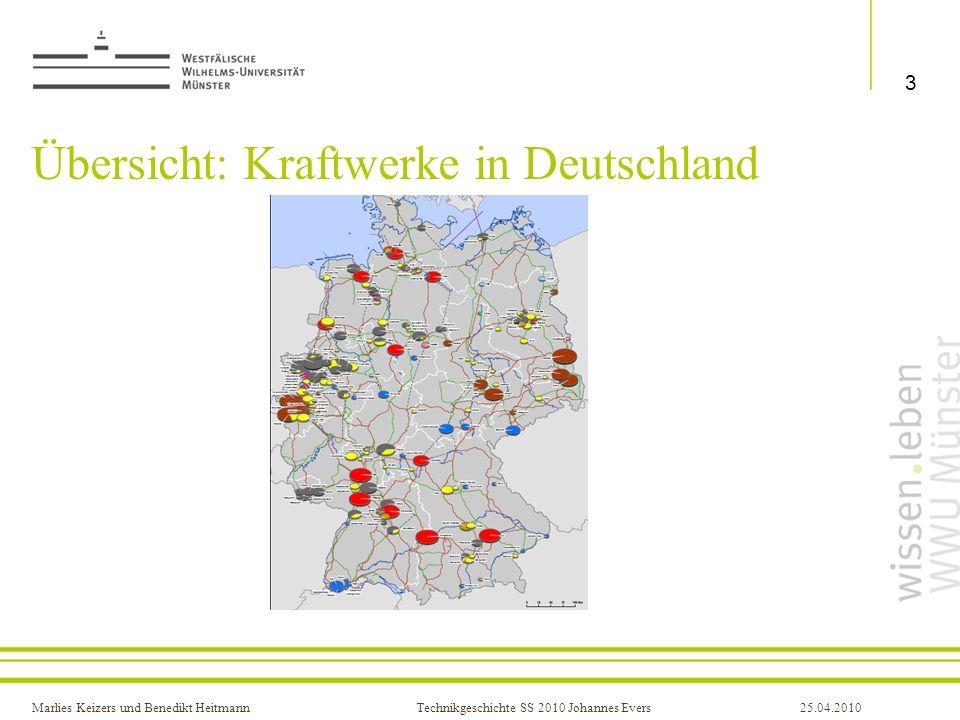 Marlies Keizers und Benedikt HeitmannTechnikgeschichte SS 2010 Johannes Evers25.04.2010 Arten von Kraftwerken Kohlekraftwerk (30 in Deutschland zwischen 400-1600 MW) Grundlasterzeugung am meisten Braunkohlekraftwerke Wirkungsgrad nur 40 % langsam anzufahren 4