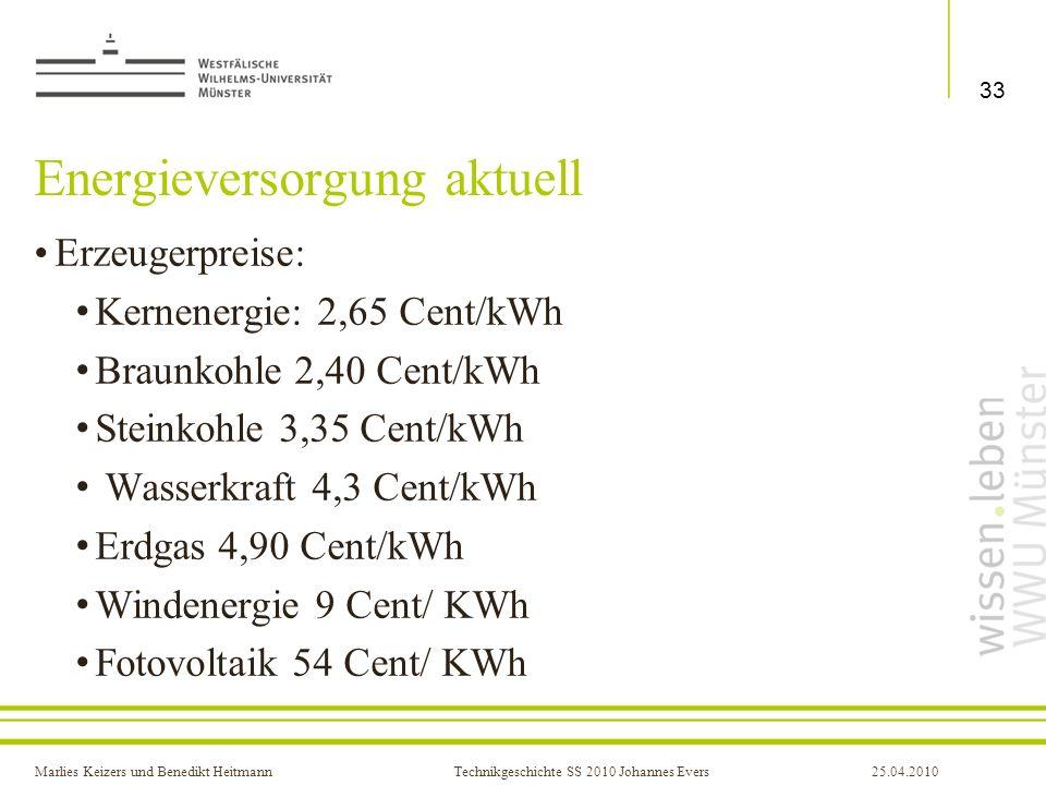 Marlies Keizers und Benedikt HeitmannTechnikgeschichte SS 2010 Johannes Evers25.04.2010 Energieversorgung aktuell Erzeugerpreise: Kernenergie: 2,65 Ce