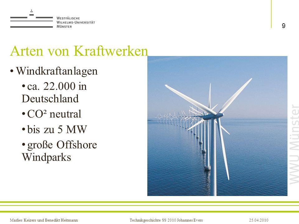 Marlies Keizers und Benedikt HeitmannTechnikgeschichte SS 2010 Johannes Evers25.04.2010 Arten von Kraftwerken Windkraftanlagen ca. 22.000 in Deutschla