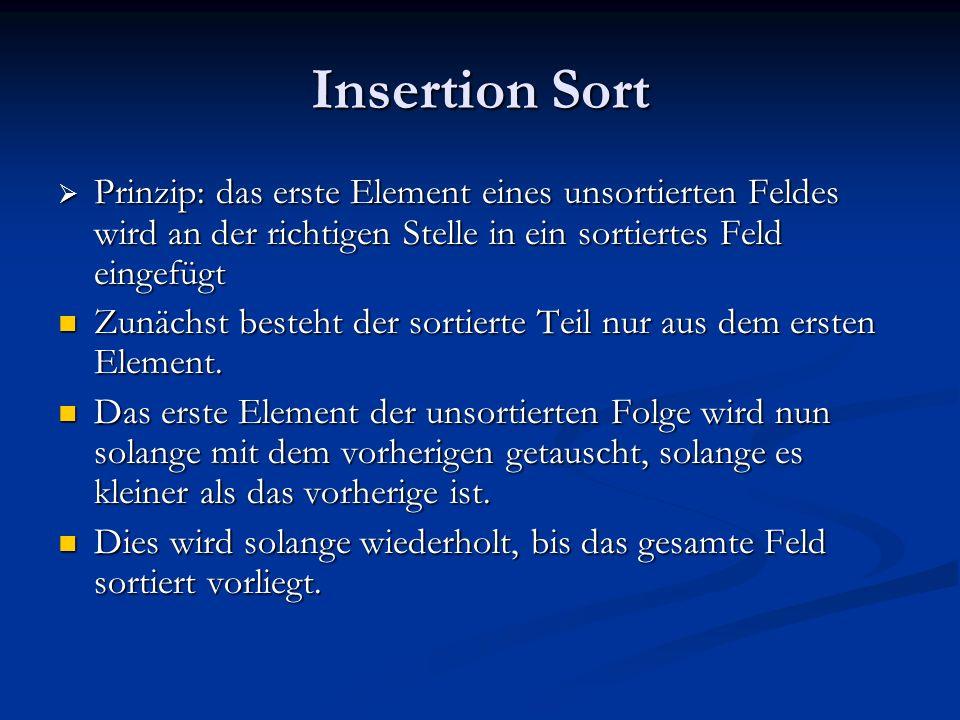 Insertion Sort Prinzip: das erste Element eines unsortierten Feldes wird an der richtigen Stelle in ein sortiertes Feld eingefügt Prinzip: das erste E