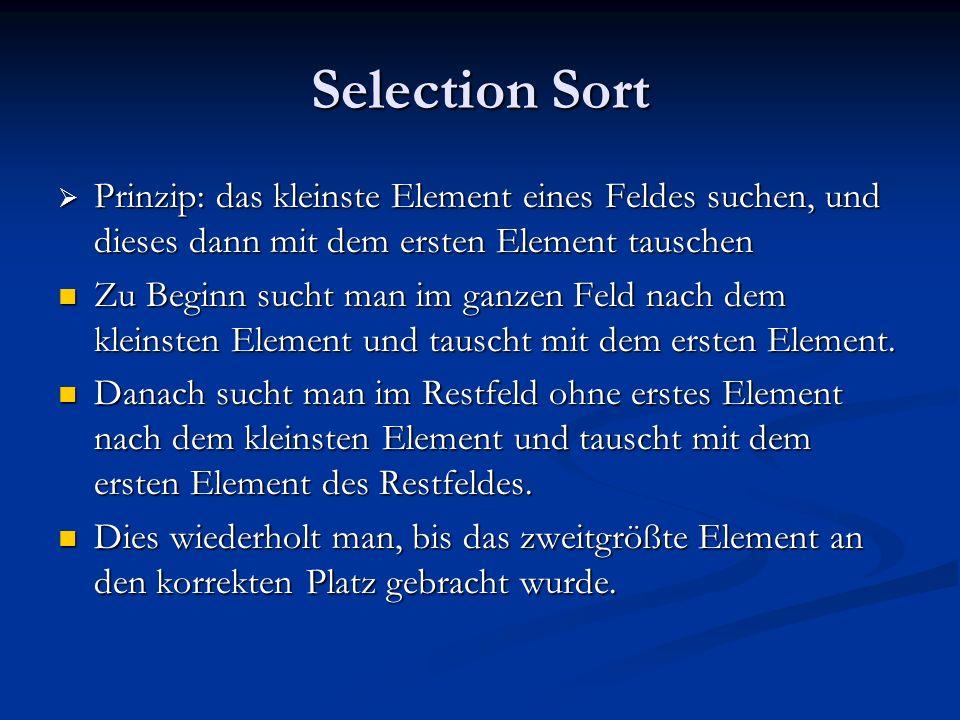 Selection Sort Prinzip: das kleinste Element eines Feldes suchen, und dieses dann mit dem ersten Element tauschen Prinzip: das kleinste Element eines