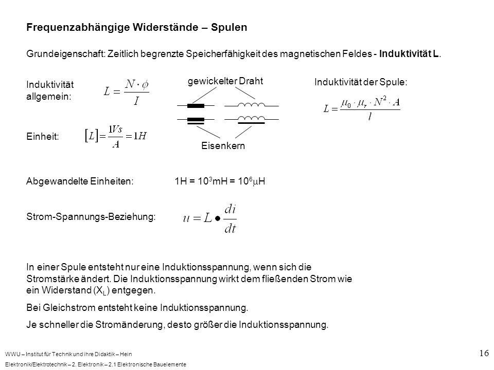 WWU – Institut für Technik und ihre Didaktik – Hein Elektronik/Elektrotechnik – 2. Elektronik – 2.1 Elektronische Bauelemente 16 Frequenzabhängige Wid