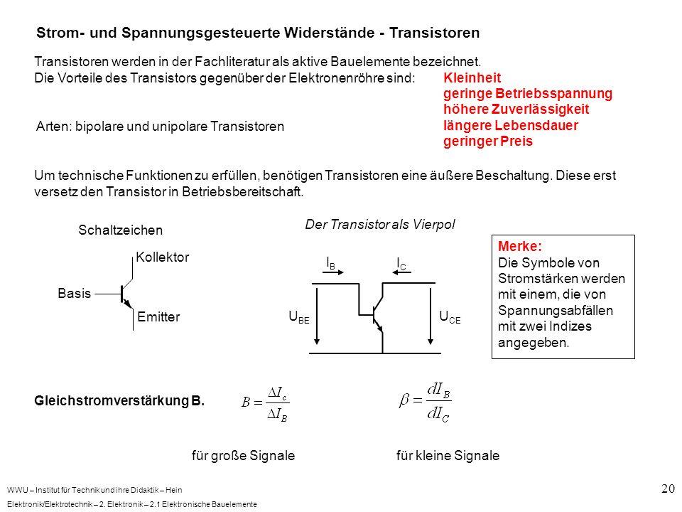 WWU – Institut für Technik und ihre Didaktik – Hein Elektronik/Elektrotechnik – 2. Elektronik – 2.1 Elektronische Bauelemente 20 Strom- und Spannungsg