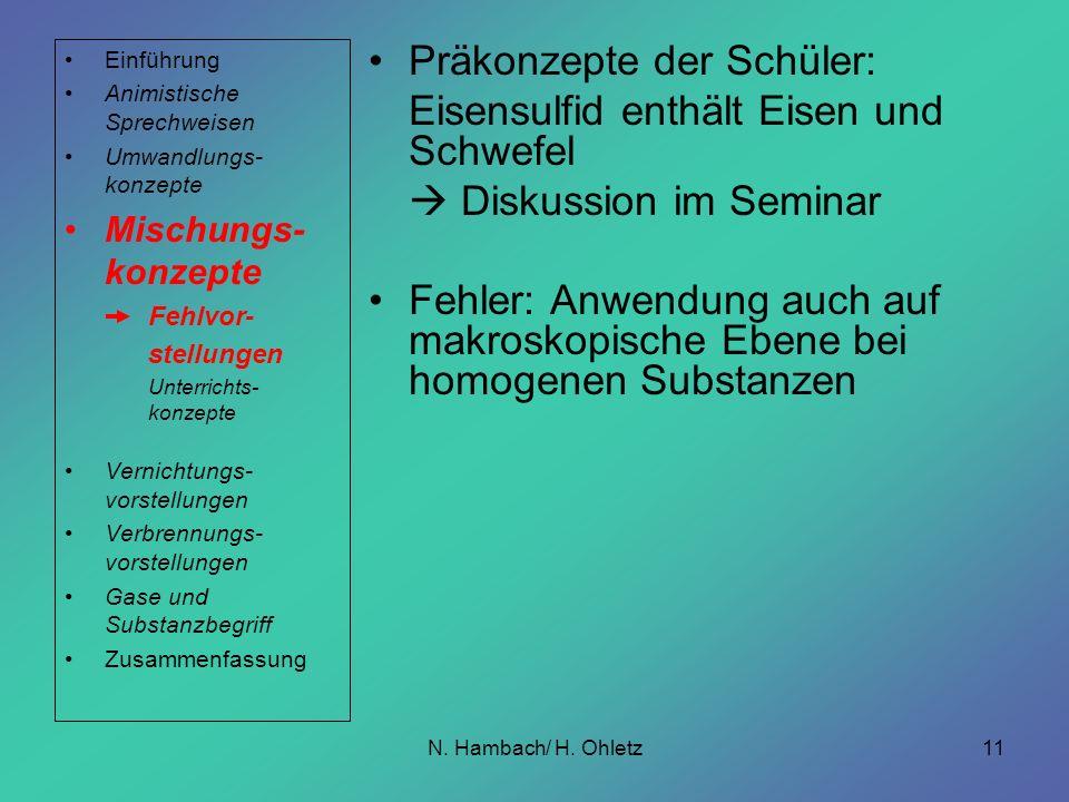 N. Hambach/ H. Ohletz11 Präkonzepte der Schüler: Eisensulfid enthält Eisen und Schwefel Diskussion im Seminar Fehler: Anwendung auch auf makroskopisch