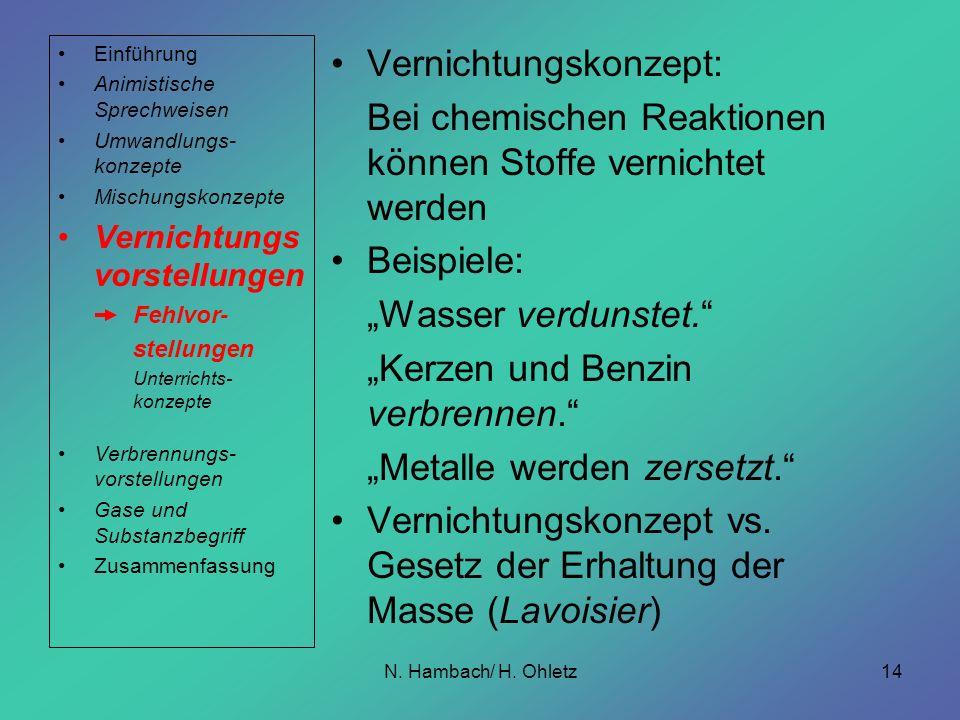 N. Hambach/ H. Ohletz14 Vernichtungskonzept: Bei chemischen Reaktionen können Stoffe vernichtet werden Beispiele: Wasser verdunstet. Kerzen und Benzin