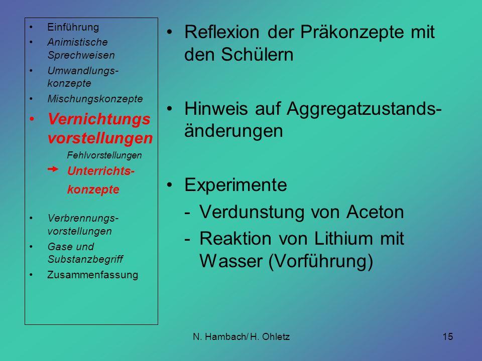 N. Hambach/ H. Ohletz15 Reflexion der Präkonzepte mit den Schülern Hinweis auf Aggregatzustands- änderungen Experimente -Verdunstung von Aceton -Reakt