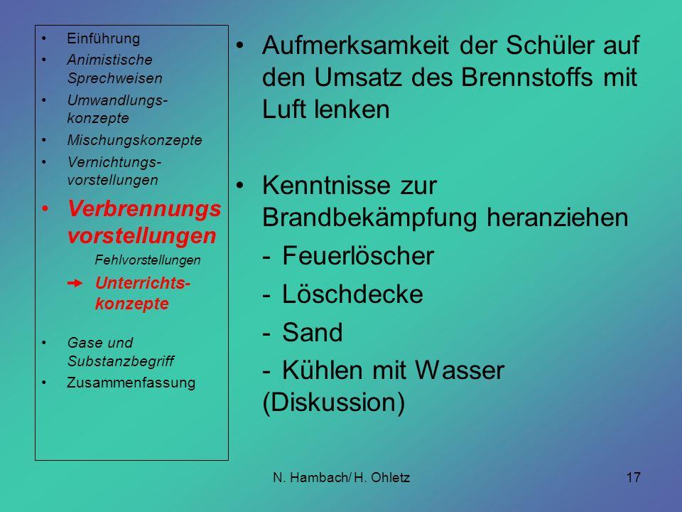 N. Hambach/ H. Ohletz17 Aufmerksamkeit der Schüler auf den Umsatz des Brennstoffs mit Luft lenken Kenntnisse zur Brandbekämpfung heranziehen -Feuerlös