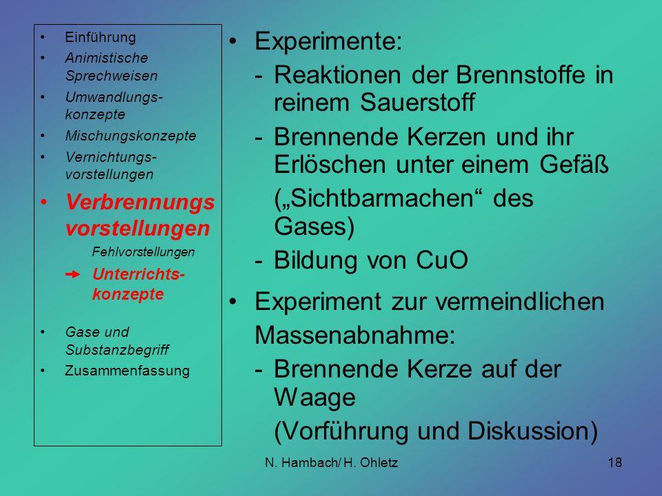 N. Hambach/ H. Ohletz18 Experimente: -Reaktionen der Brennstoffe in reinem Sauerstoff -Brennende Kerzen und ihr Erlöschen unter einem Gefäß (Sichtbarm
