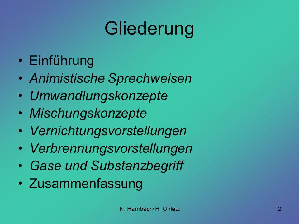 N. Hambach/ H. Ohletz2 Gliederung Einführung Animistische Sprechweisen Umwandlungskonzepte Mischungskonzepte Vernichtungsvorstellungen Verbrennungsvor