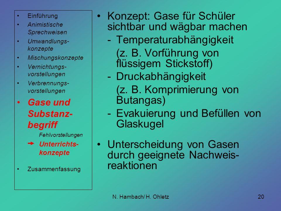 N. Hambach/ H. Ohletz20 Konzept: Gase für Schüler sichtbar und wägbar machen -Temperaturabhängigkeit (z. B. Vorführung von flüssigem Stickstoff) -Druc